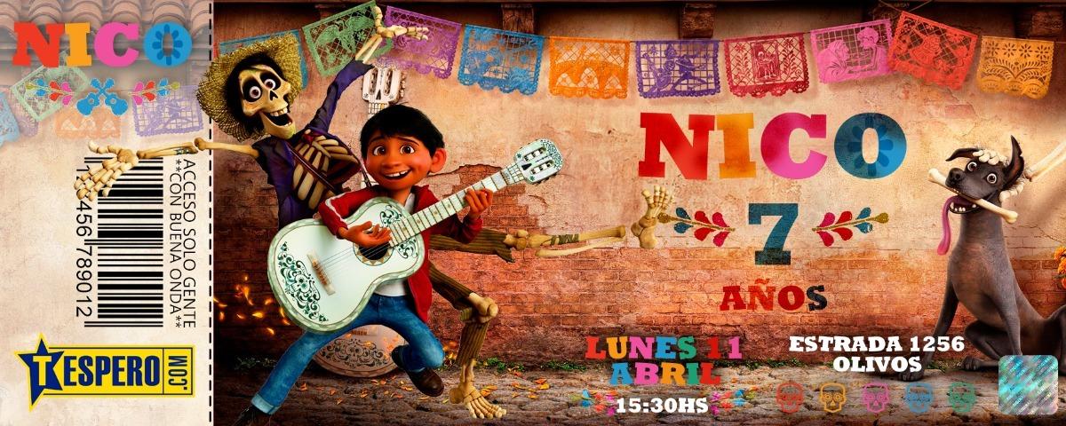 Tarjetas Infantiles Invitaciones Ticket Coco Disney Cumple