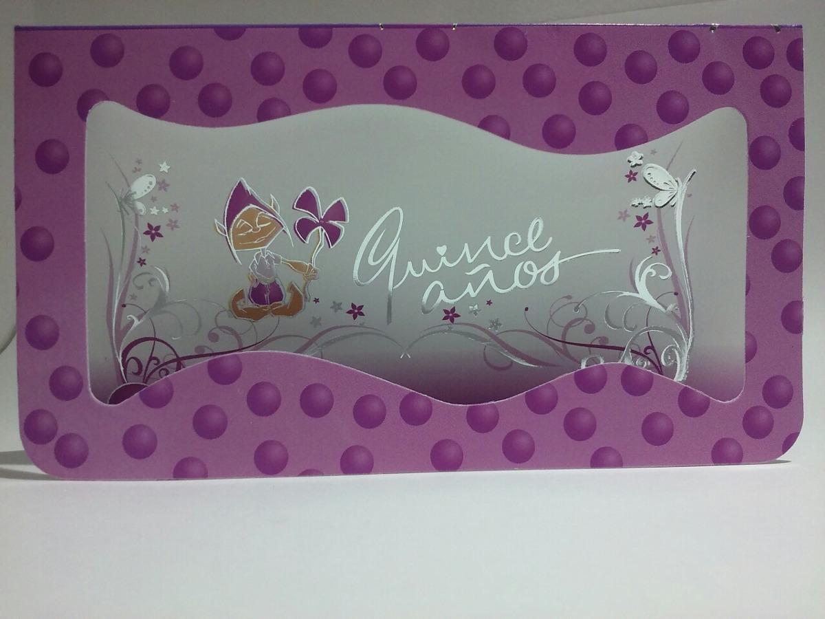 Tarjetas Invitacion 15 Años Modelo Duende Lila Pack X 10