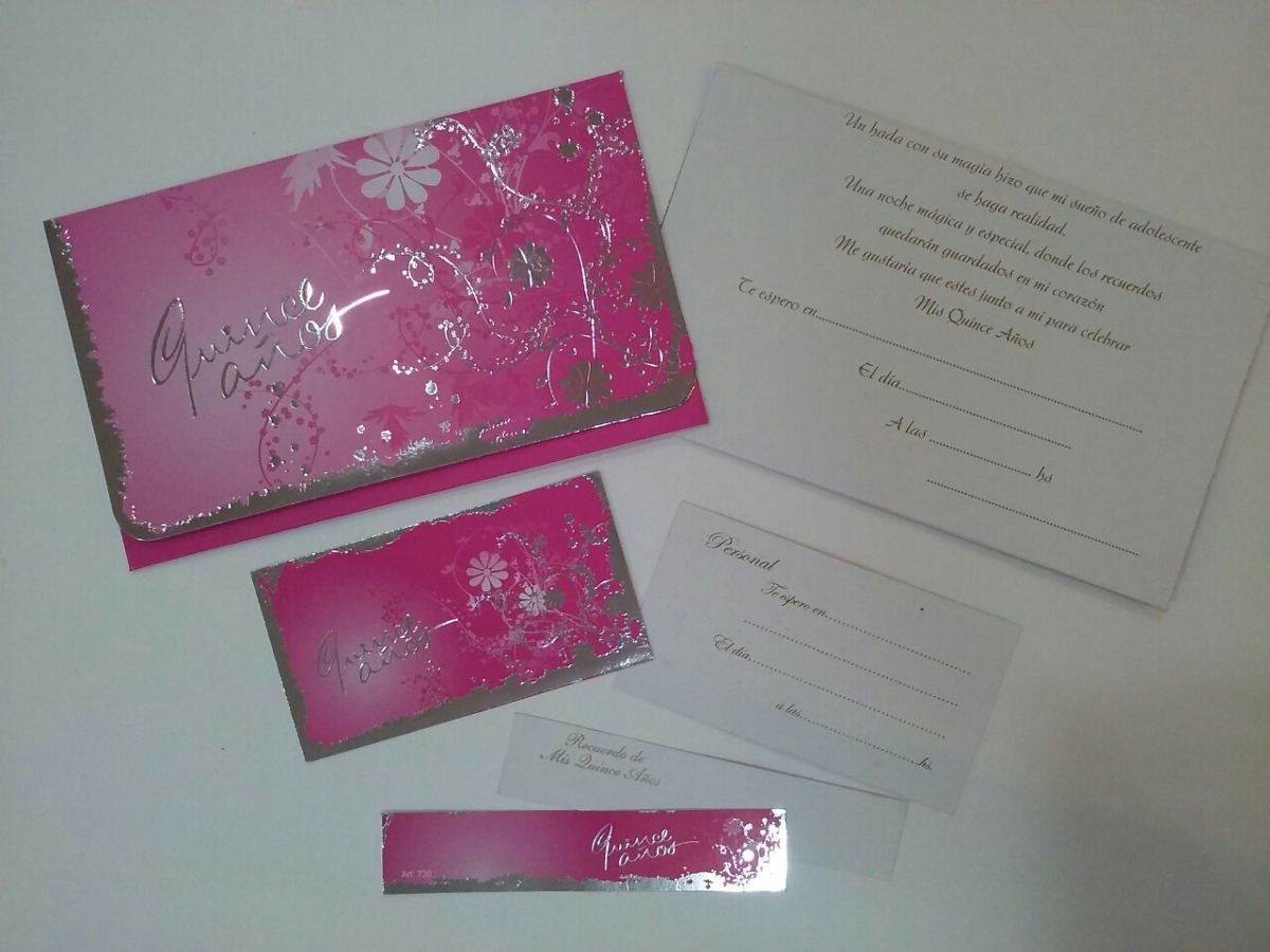 Tarjetas Invitacion 15 Años Modelo Flor Plata Azul X 10