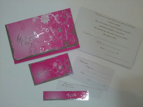 tarjetas invitacion 15 años - modelo flor plata azul x 10