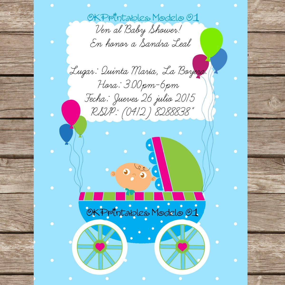 Tarjetas Invitación Baby Shower Digital Personalizadas Niñ