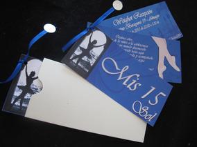 Tarjetas Invitación Ballet Bailarina Clásica Azul 15 Años