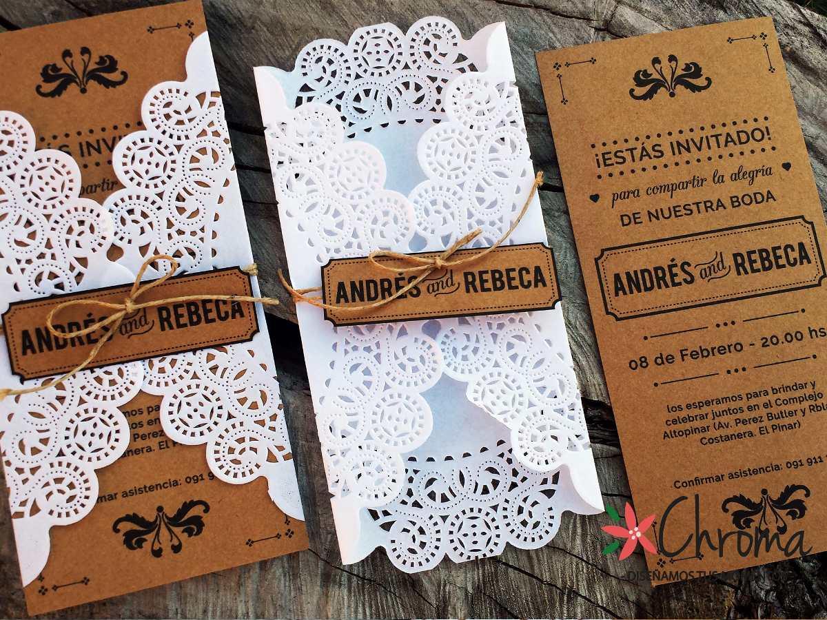 Invitaciones Para Matrimonio Rustico : Tarjetas invitacion boda casamiento blondas rustico kraft