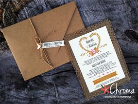 Tarjetas Invitación Boda Casamiento Rustica Arpillera