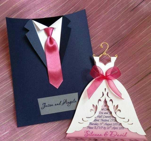 Tarjetas Invitación Boda Vestido Traje