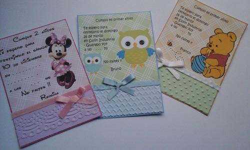 tarjetas invitación cartulina minnie con cinta y textura