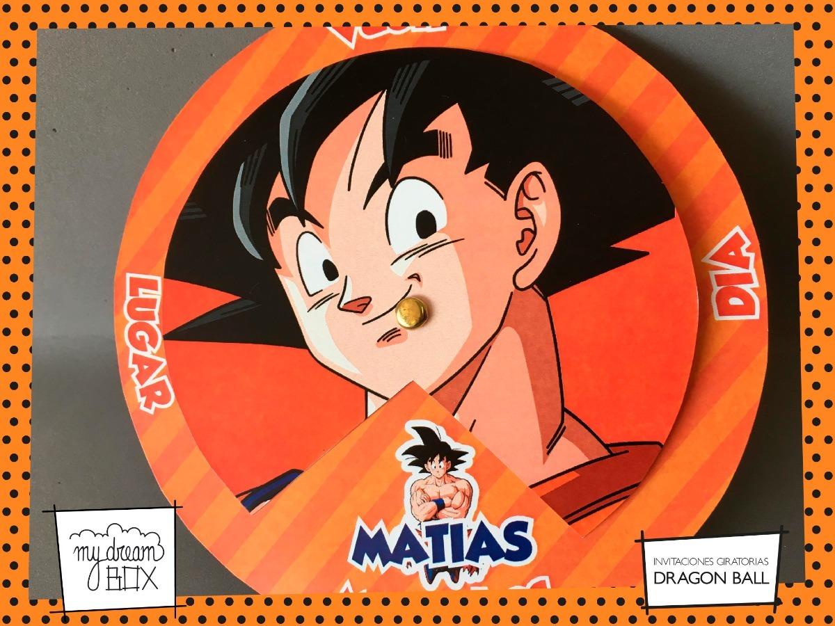 Tarjetas Invitación Circular Cumple Evento Dragon Ball Goku