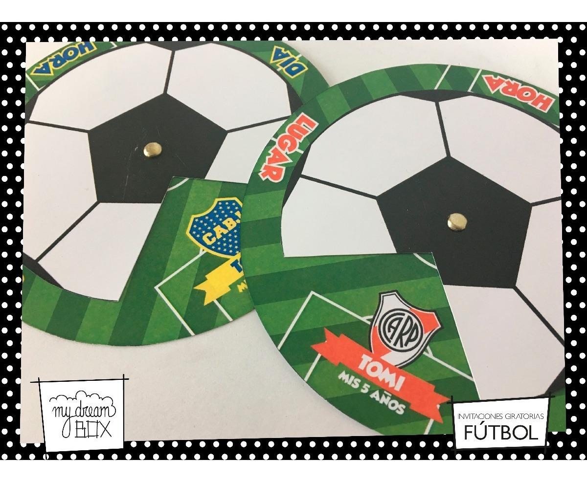 Tarjetas Invitación Circular Evento Fútbol Pelota Boca River