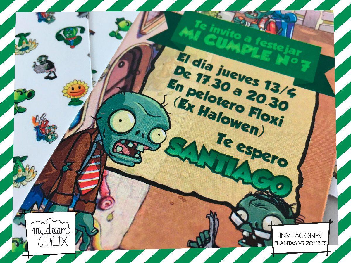 Tarjetas Invitación Cumple Event Infantil Plantas Vs Zombies