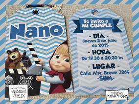 Tarjetas Invitación Cumple Evento Infantil Masha Oso Mawa