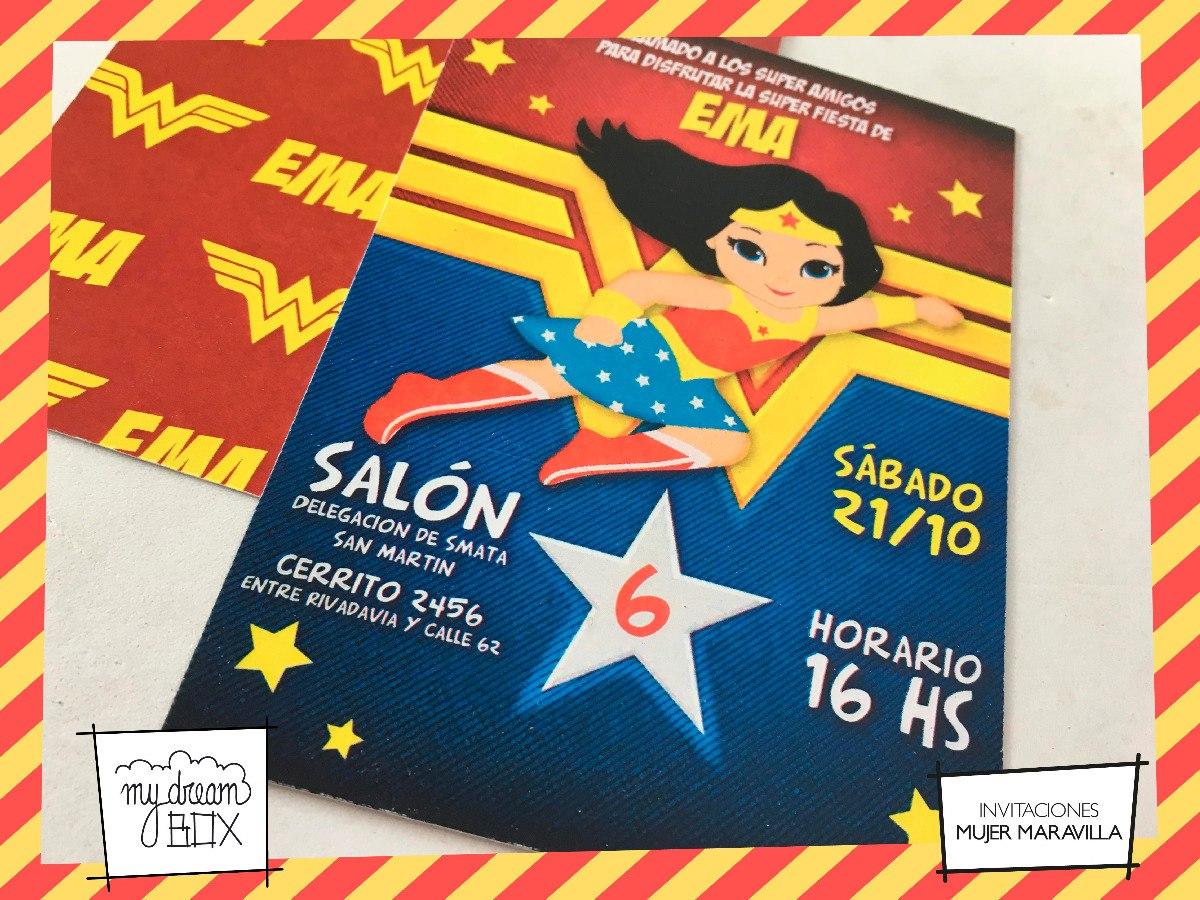 Tarjetas Invitación Cumple Evento Infantil Mujer Maravilla