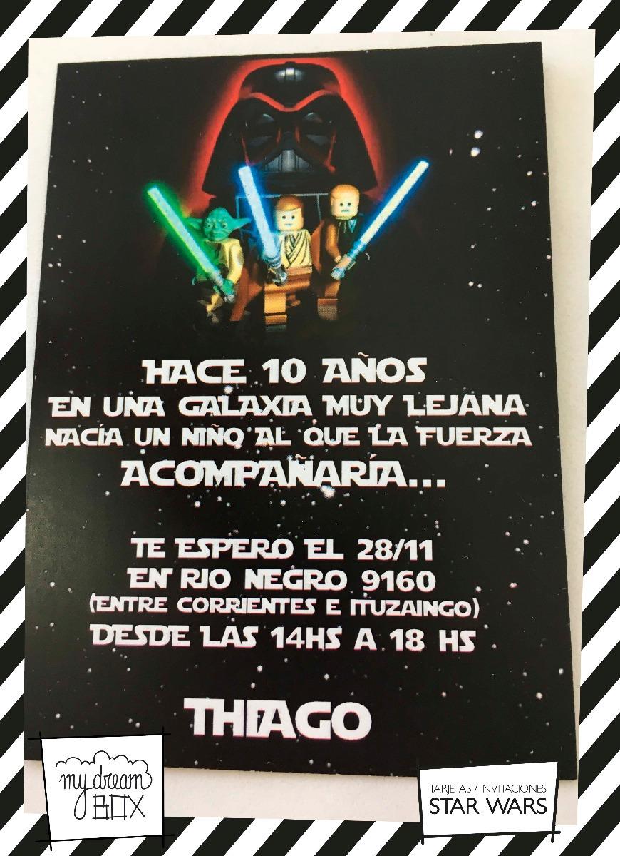 Tarjetas Invitación Cumple Evento Star Wars Darth Vader Luke