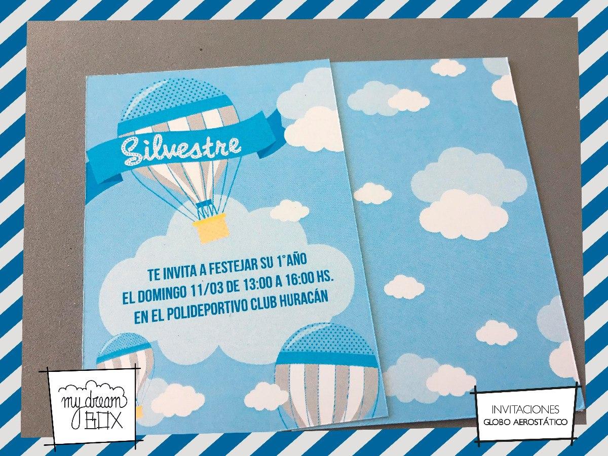Tarjetas Invitación Cumple Infantil Evento Globo Aerostatico