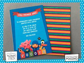 Tarjetas Invitación Cumple Infantil Evento Pocoyo Pato Elly