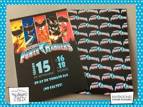 Tarjetas Invitación Cumple Infantil Evento Power Rangers