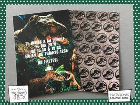 Tarjetas Invitación Cumple Infantil Jurassic Park Rex Dino