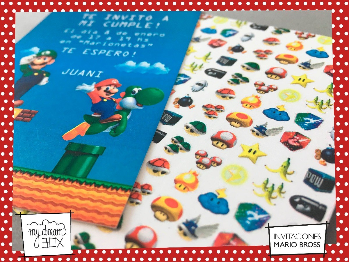 Tarjetas Invitación Cumple Infantil Mario Bros Luigi Evento
