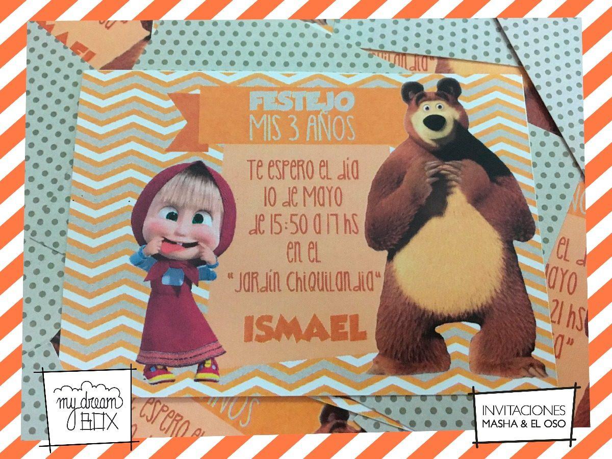 Tarjetas Invitación Cumple Infantil Masha Y Oso Mawa Evento