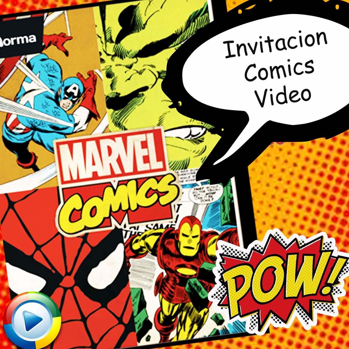Tarjetas Invitacion Cumpleanos Digital Comics Animada Video Bs 30 - Tarjetas-de-invitacion-cumpleaos