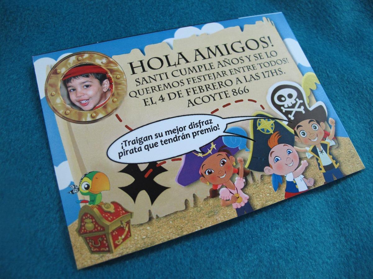 Tarjetas Invitacion Cumpleaños Infantil Jake Y Los Piratas