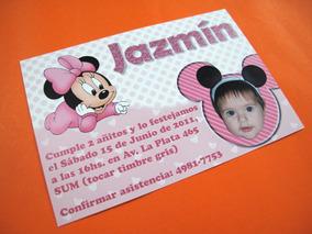 Tarjetas Invitacion Cumpleaños Infantil Minnie Bebe Baby