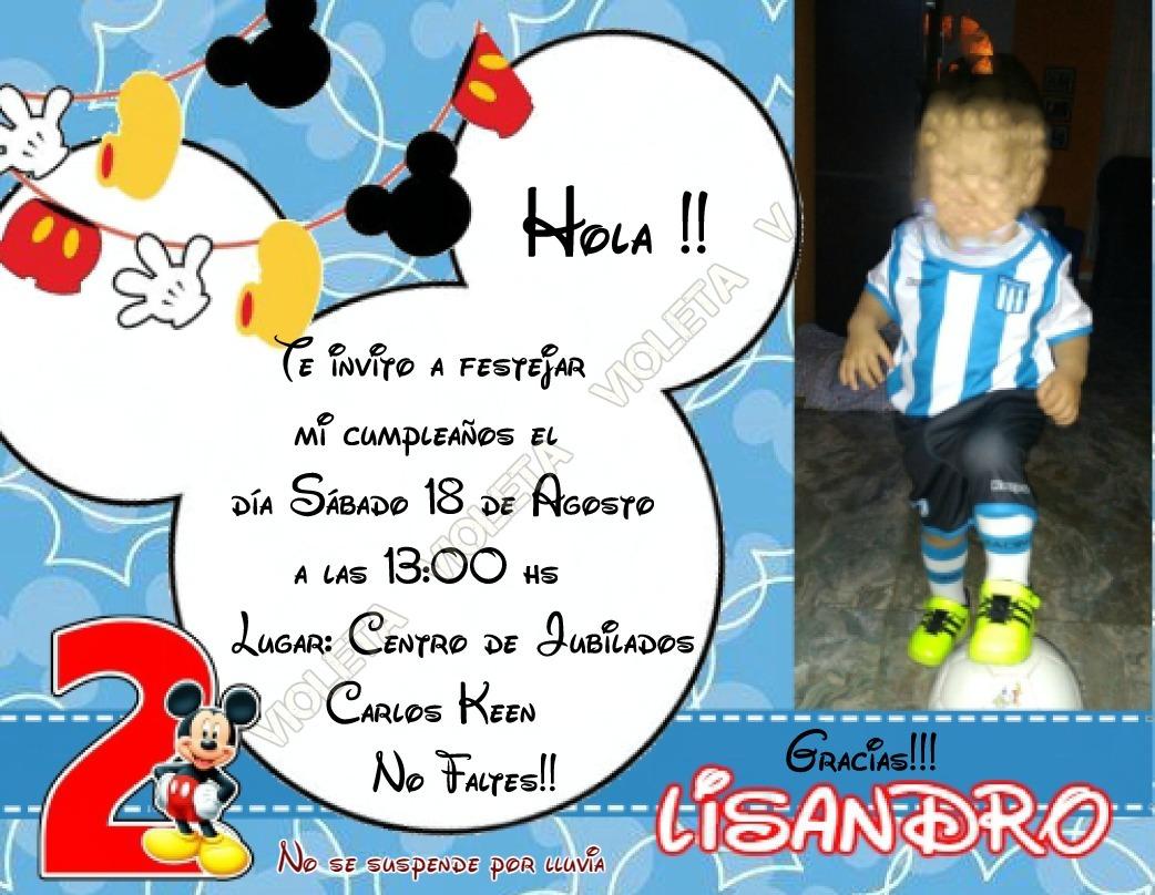 Tarjetas Invitacion Cumpleaños Mickey O Minie X 15