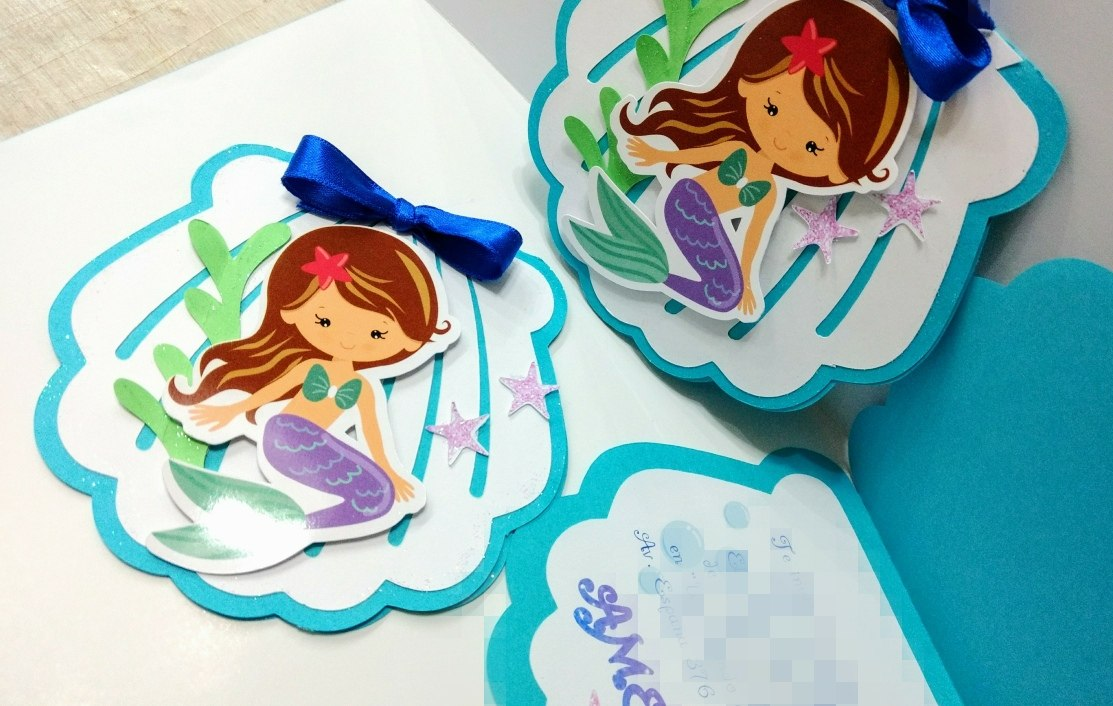 Tarjetas Invitación Cumpleaños Sirenita C Relieve Y Calados
