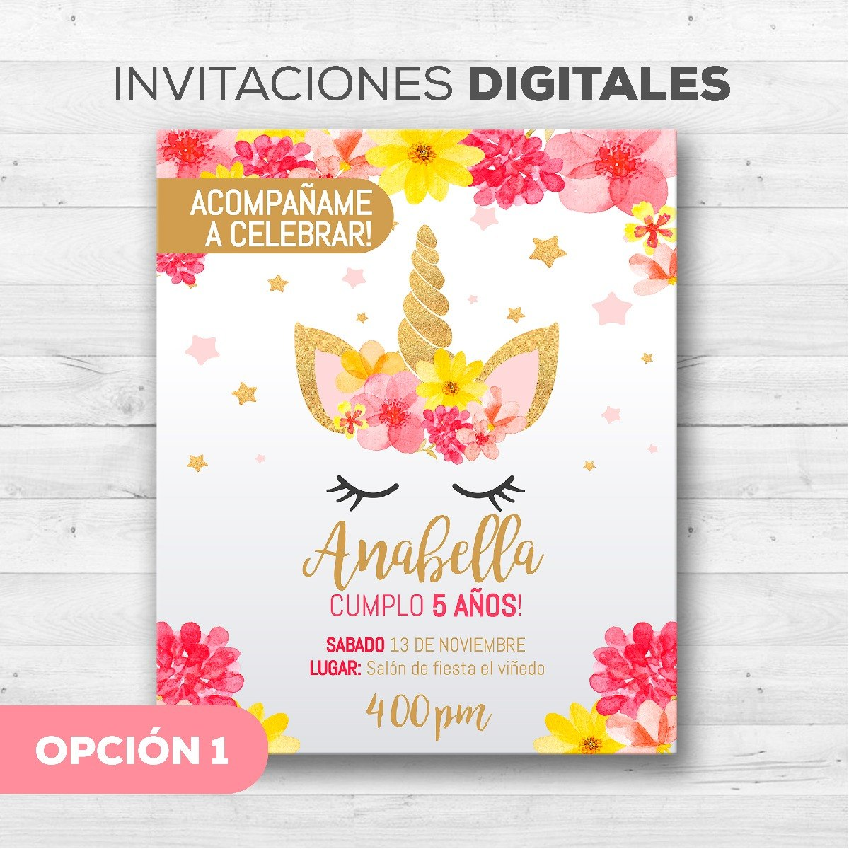 Tarjetas Invitación De Unicornio Whatsapp Digitales