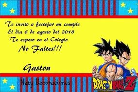 Tarjetas Invitacion Dragon Ball Z