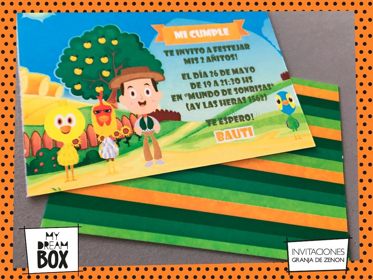 Tarjetas Invitación Evento Cumple Infantil Granja Zenon Lola