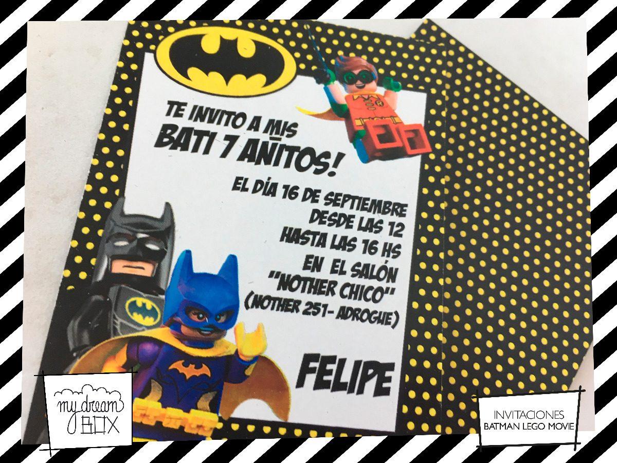 Tarjetas Invitación Evento Cumple Infantil Heroe Lego Batman