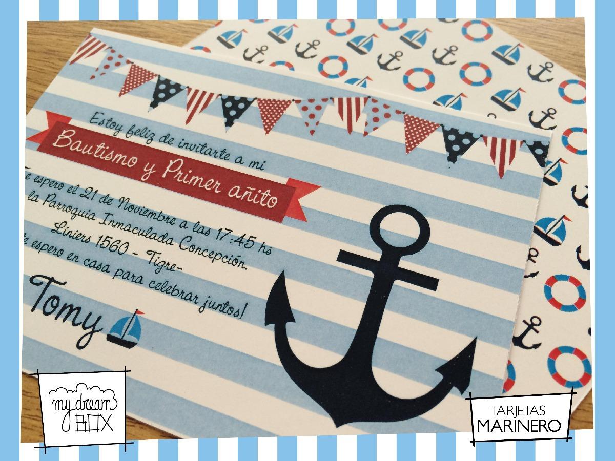 Tarjetas Invitación Evento Cumple Infantil Marinero Nautico