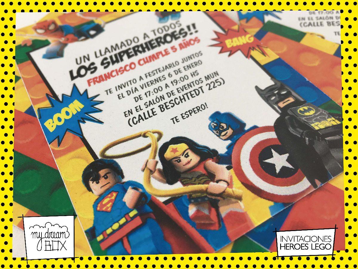 Tarjetas Invitación Evento Cumple Infantil Super Heroes Lego