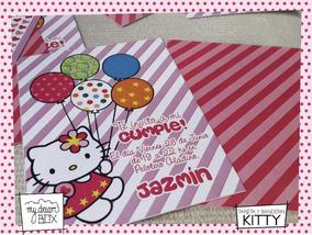Tarjetas Invitación Evento Hello Kitty Infantil Evento Gata