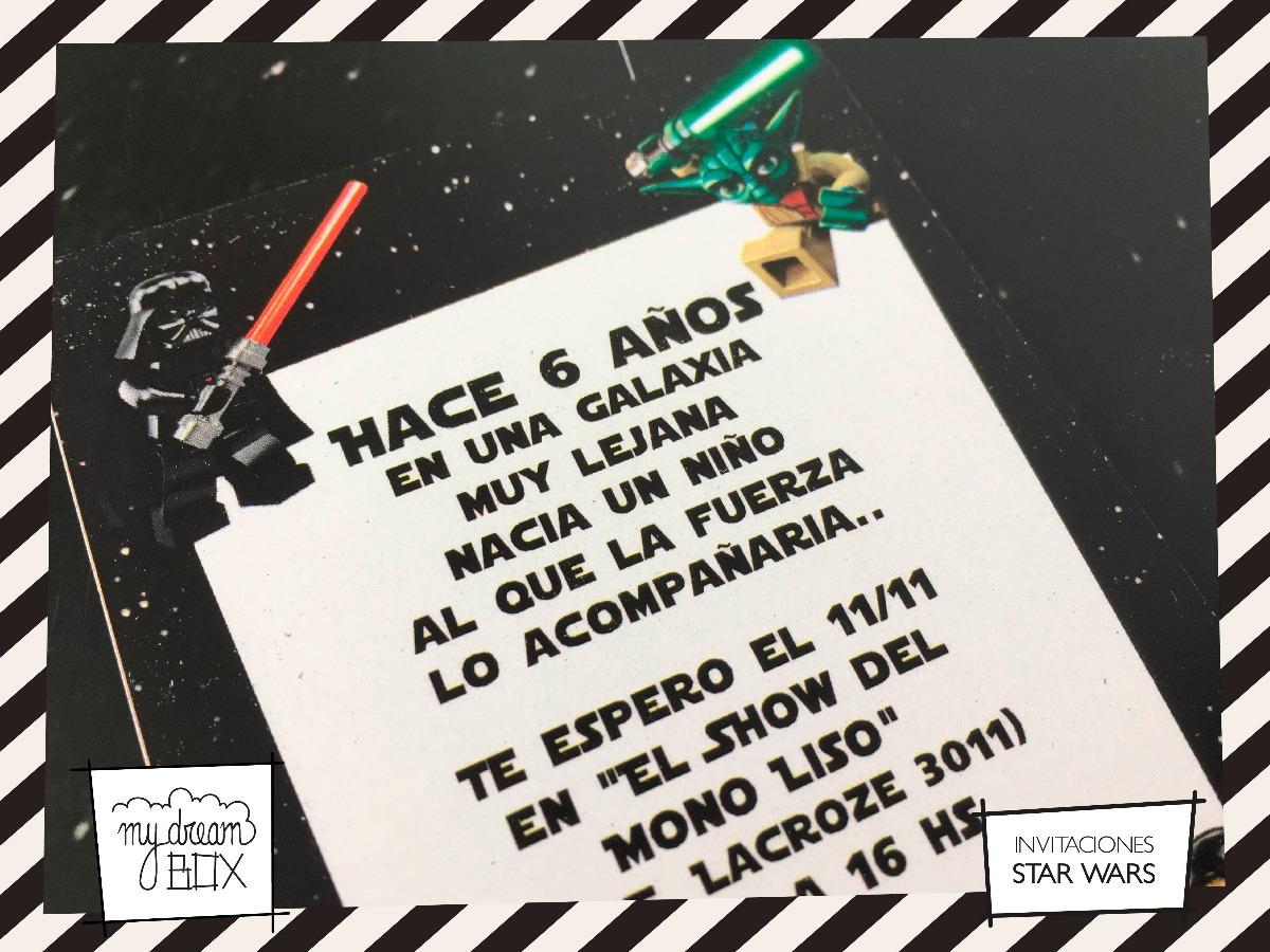 Tarjetas Invitación Personalizadas Cumple Star Wars Lego