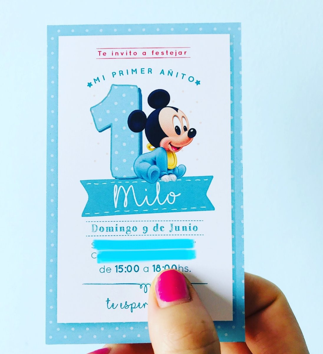 Tarjetas Invitacion Primer Año Bolsita Lienzo Mickey Bebé
