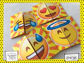 Tarjetas Invitación Solapa Cumple Infantil Emoji Emoticon