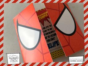 Tarjetas Invitación Solapa Cumple Spiderman Heroe Araña