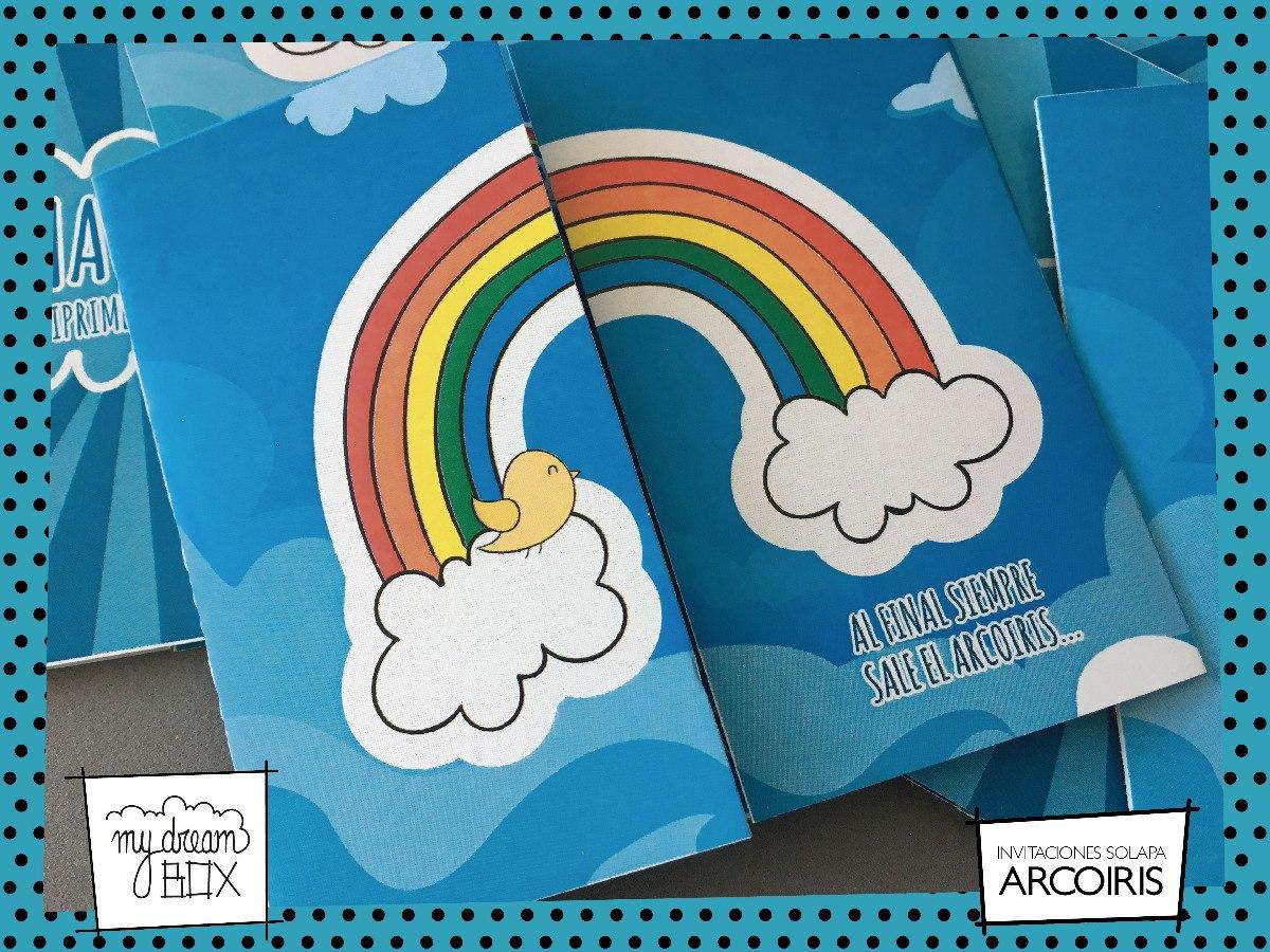 Tarjetas Invitación Solapa Evento Cumple Arco Iris Nubes