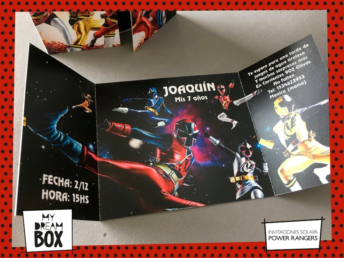 Tarjetas Invitación Solapa Evento Cumple Power Rangers