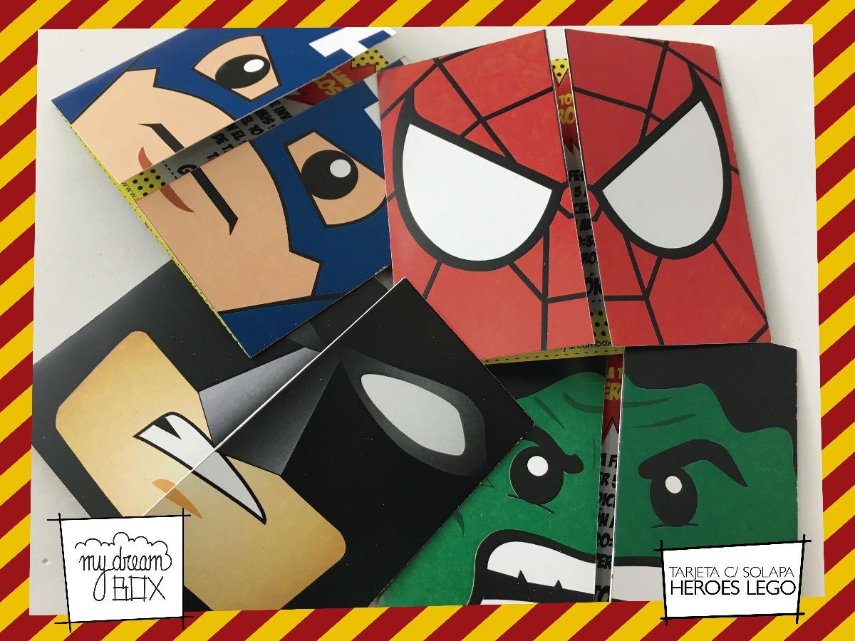 Tarjetas Invitación Solapa Evento Cumple Super Heroes Lego