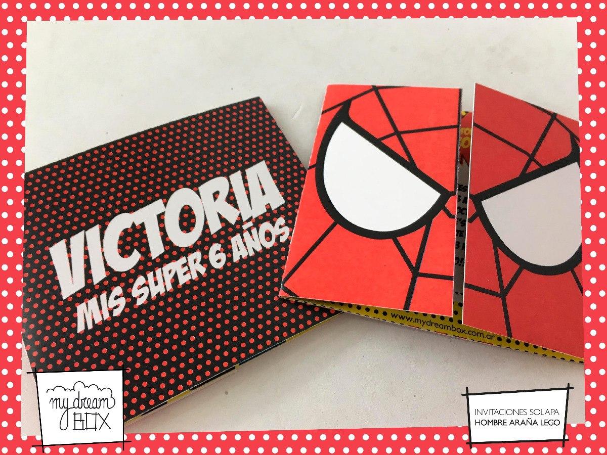 Tarjetas Invitación Solapa Evento Spiderman Venom Heroe Lego