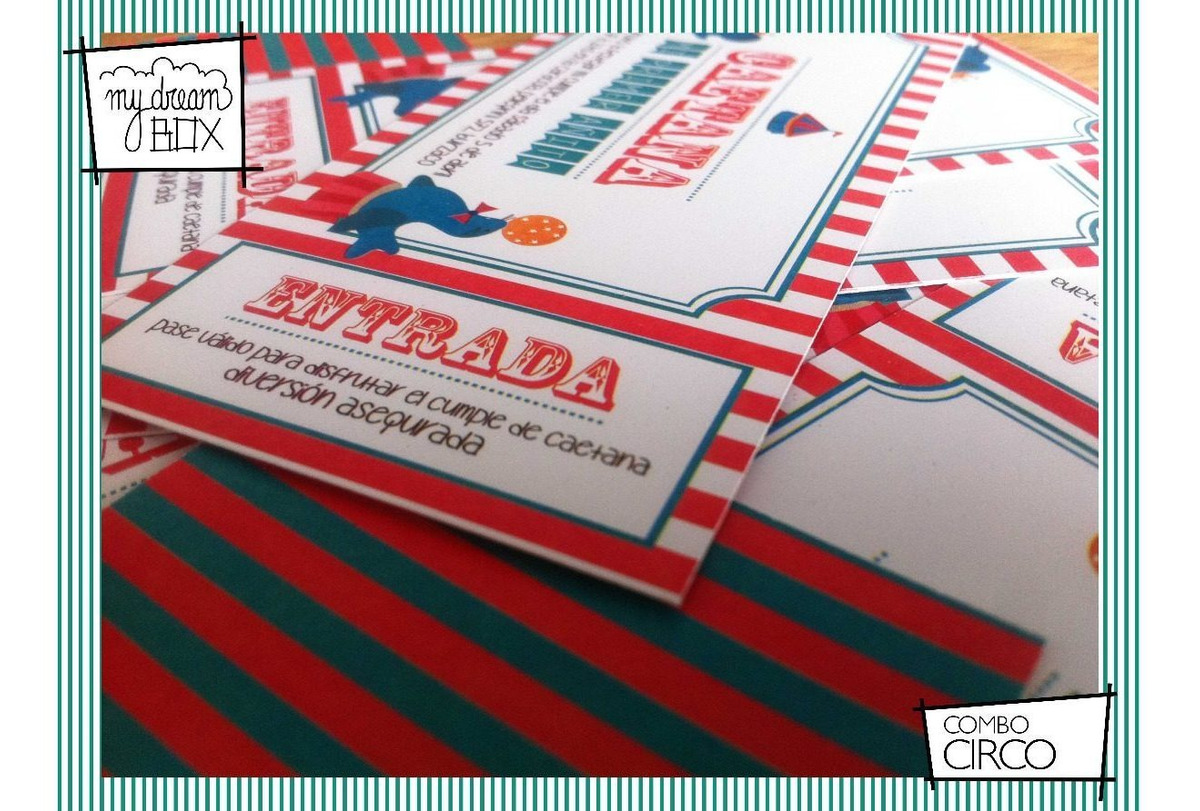 Tarjetas Invitación Ticket Evento Cumple Circo Payaso Kermes