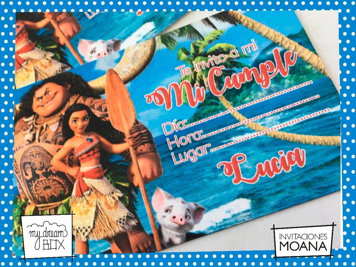 Tarjetas Invitación Ticket Evento Cumple Moana Disney Mar
