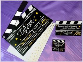 Tarjetas Invitaciones 15 Años Hollywood Ticket Film
