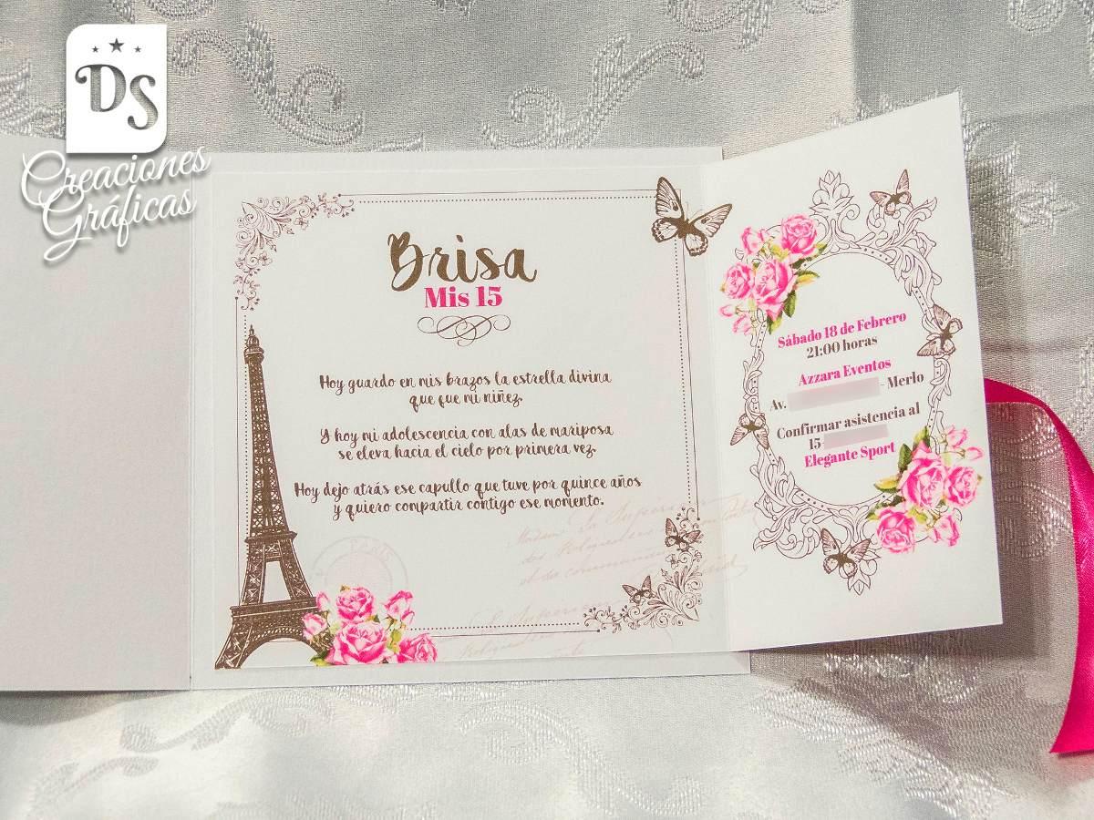 Dream Wear Online Tarjetas Invitacion 15 Años Paris