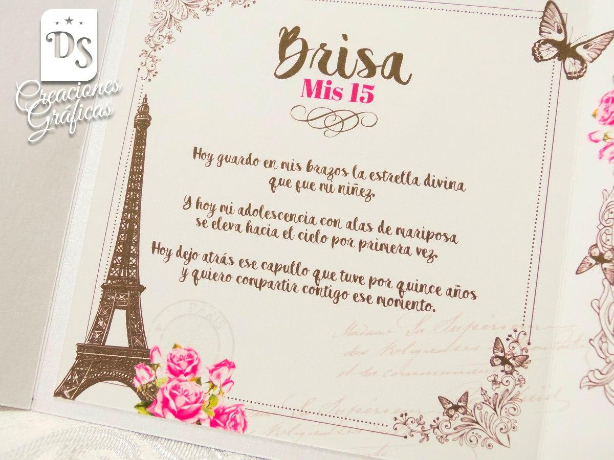 Tarjetas Invitaciones 15 Años Paris Princesa