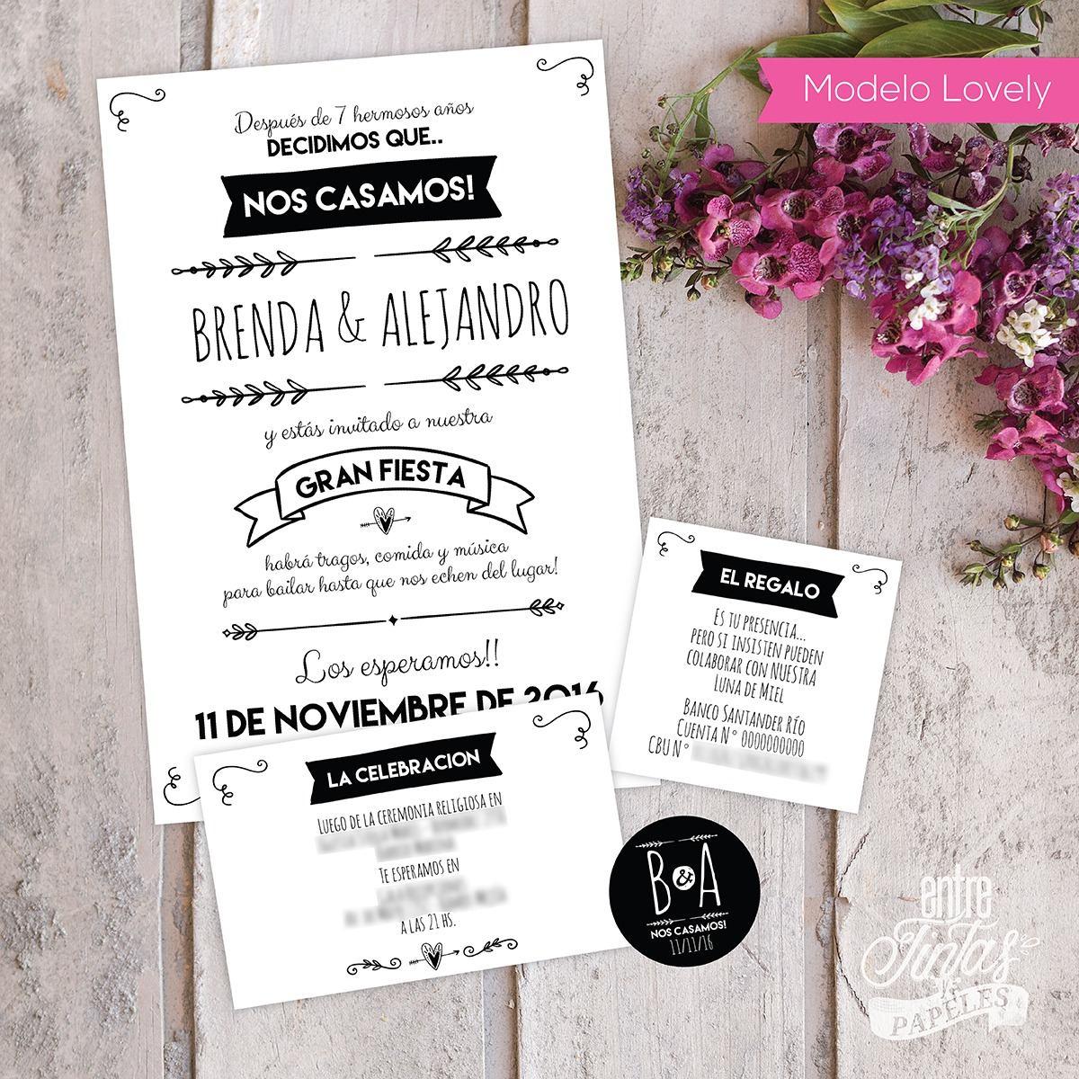 Tarjetas Invitaciones Bodas Casamiento Personalizadas