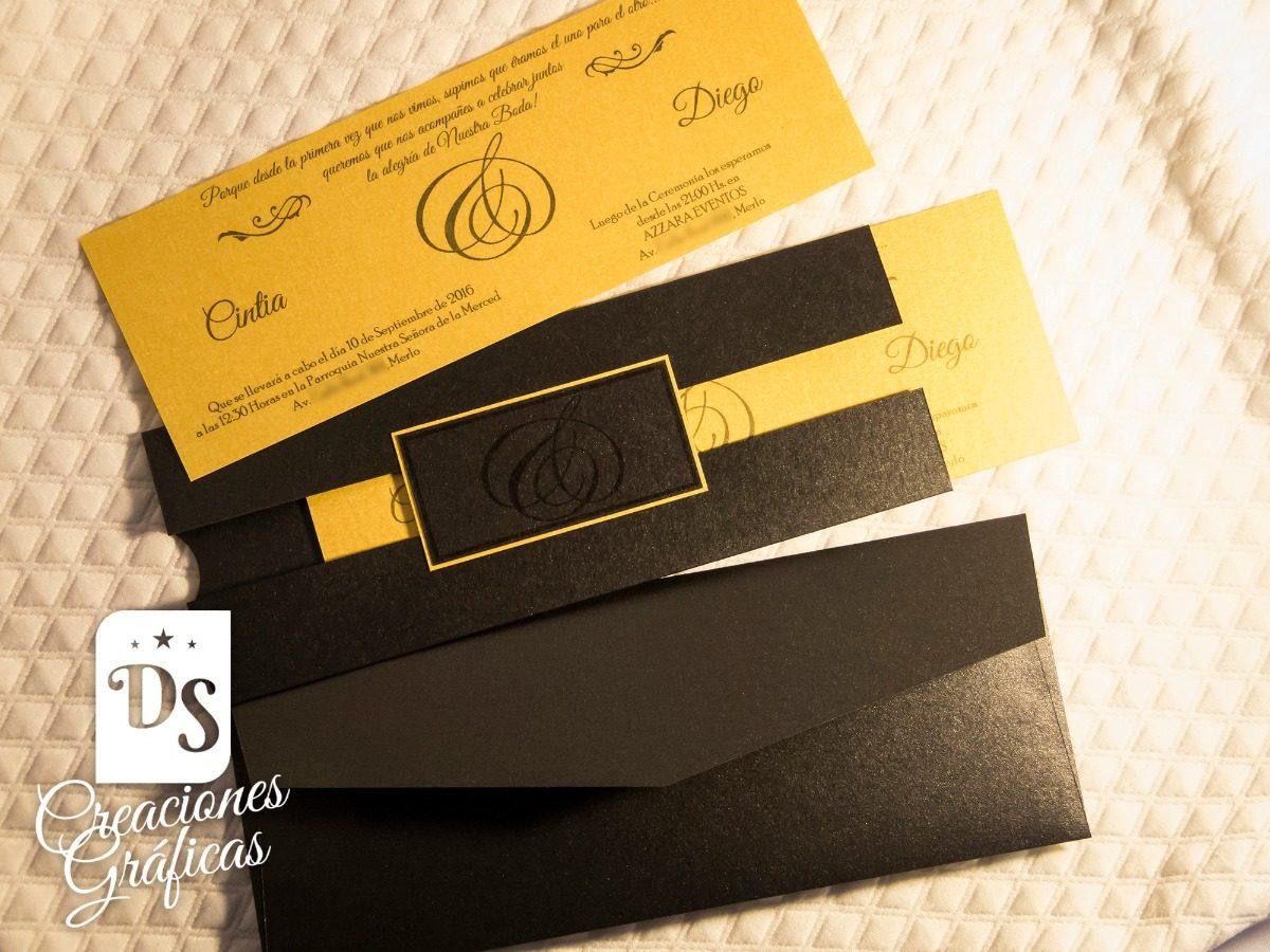 7b41c3f46b175 Tarjetas Invitaciones Casamiento Boda Elegantes L-005 -   71