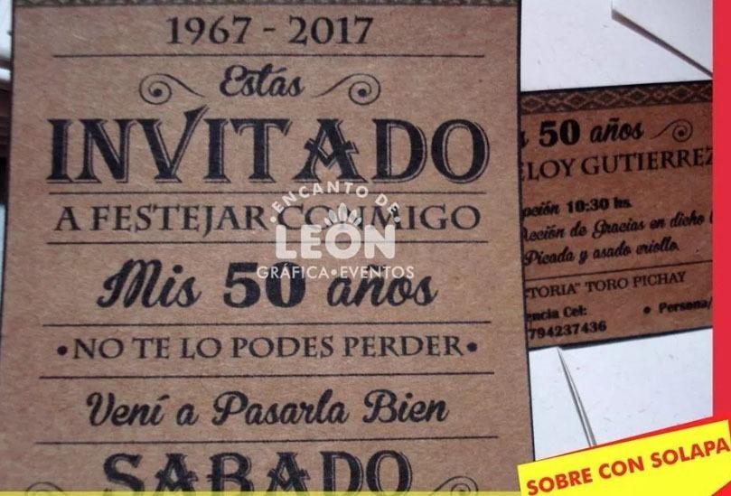 Tarjetas Invitaciones Cumpleaños 50 70 Años Hombre 20 Unidad